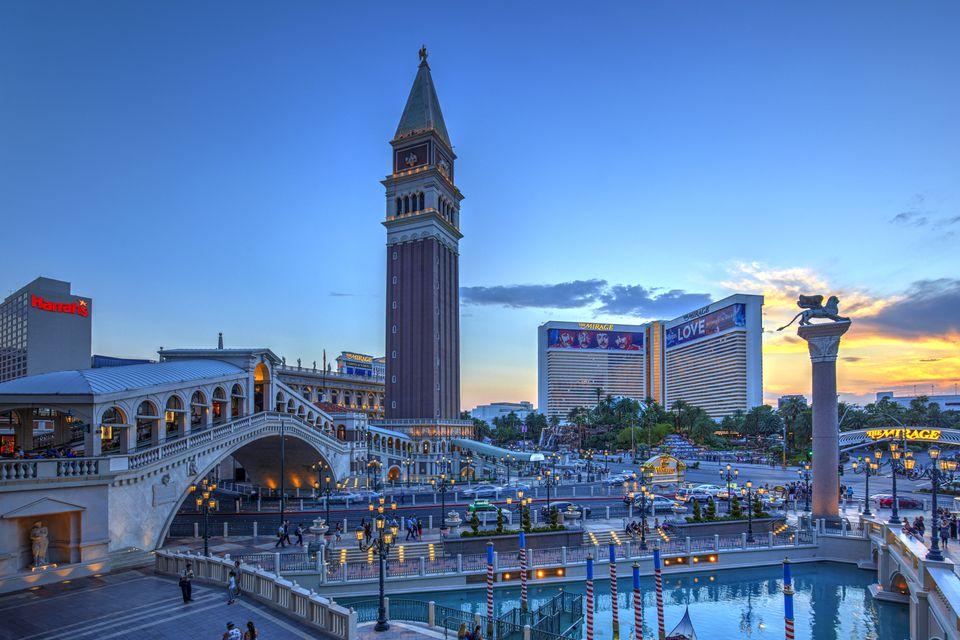 The Venetian hotel in Las Vegas at dusk