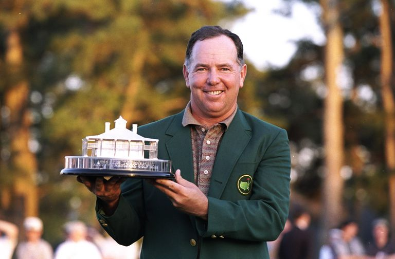 Mark O''Meara holds the trophy after winning the 1998 Masters Tournament