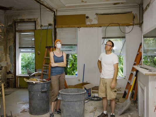 Couple renovating home.