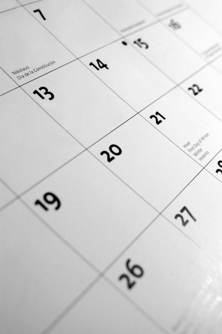 Close-up of a calendar