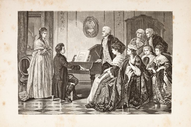 Steel engraving of composer Mozart and Beethoven from 1882