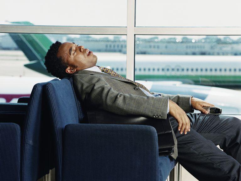 Man snoring in airport
