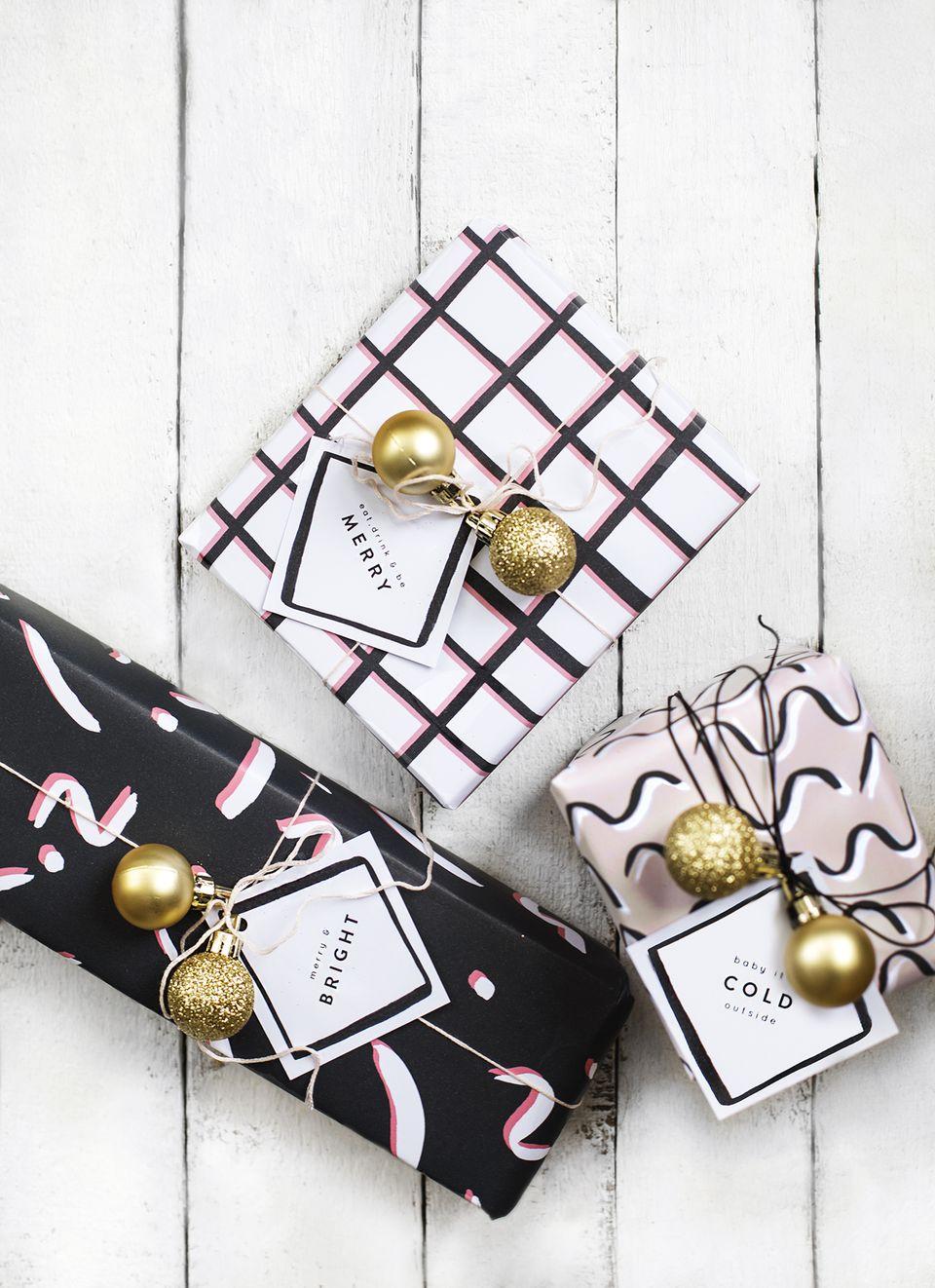 DIY Printable Modern Gift Tags And Wrap