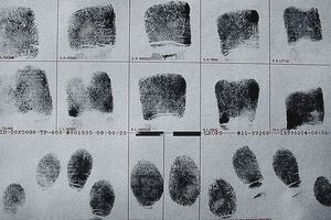 Fingerprints on police arrest record