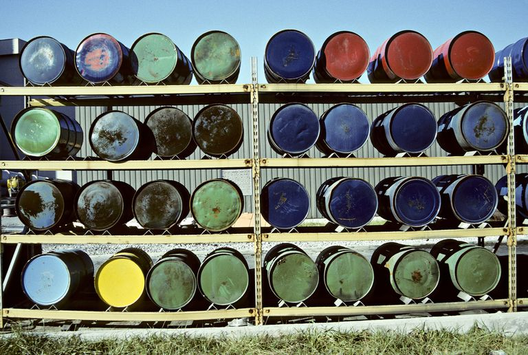 Used oil and petroleum products drums to be recycled.