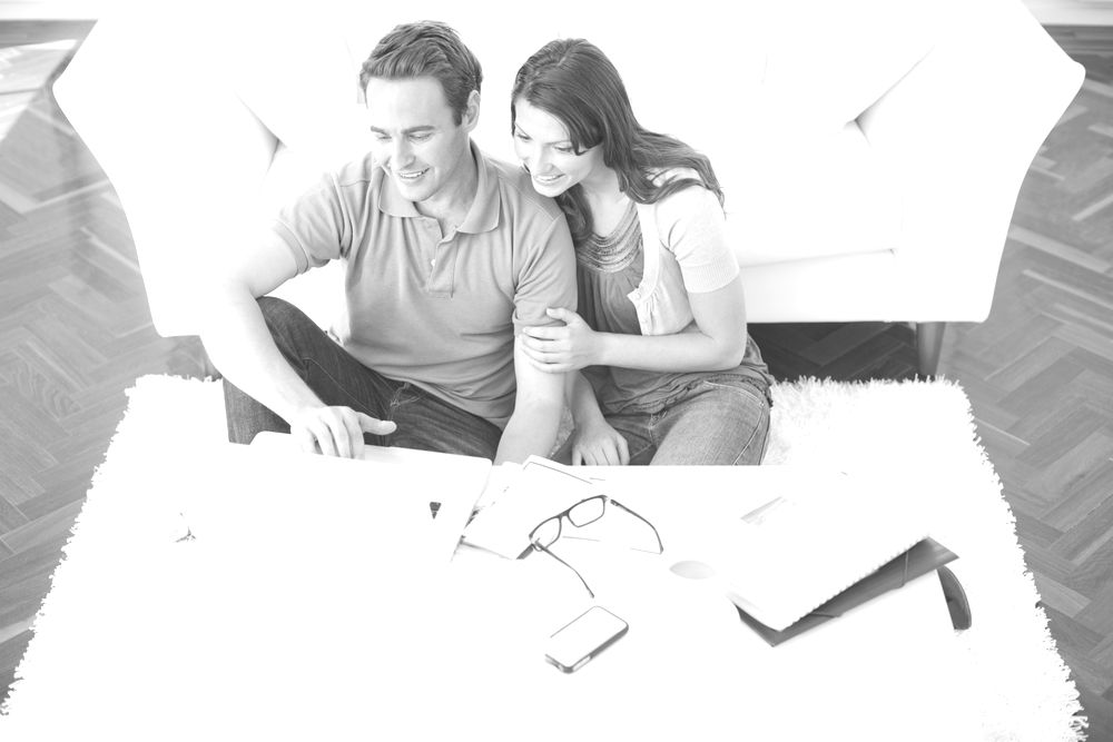 Couple working on computer