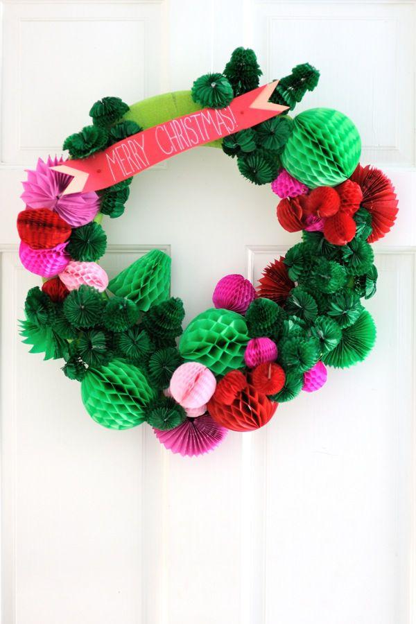 DIY Honeycomb Christmas Wreath