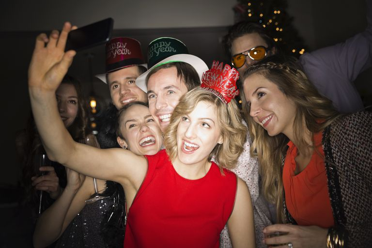 Friends taking New Year's Eve photo