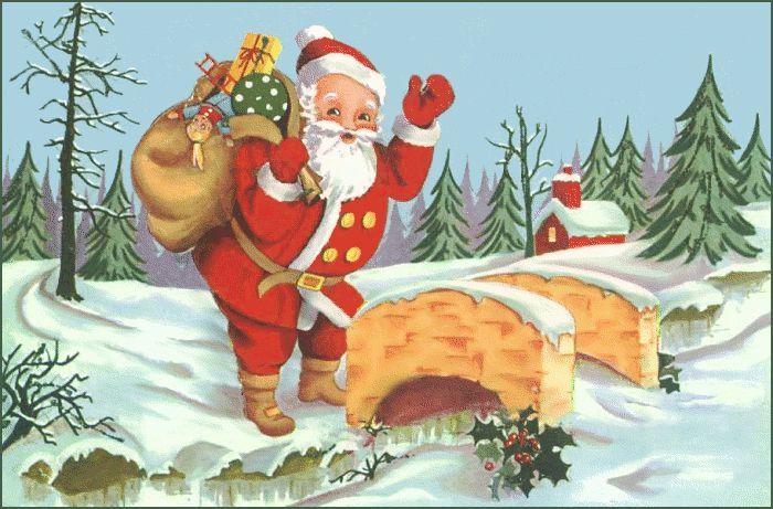 A vintage image of Santa waving.