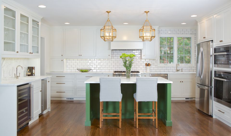 apple green and white kitchen