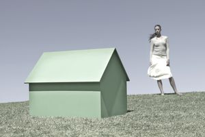 woman looking at small green house