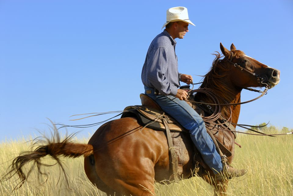 Cowboy wearing denim riding a chestnut horse.