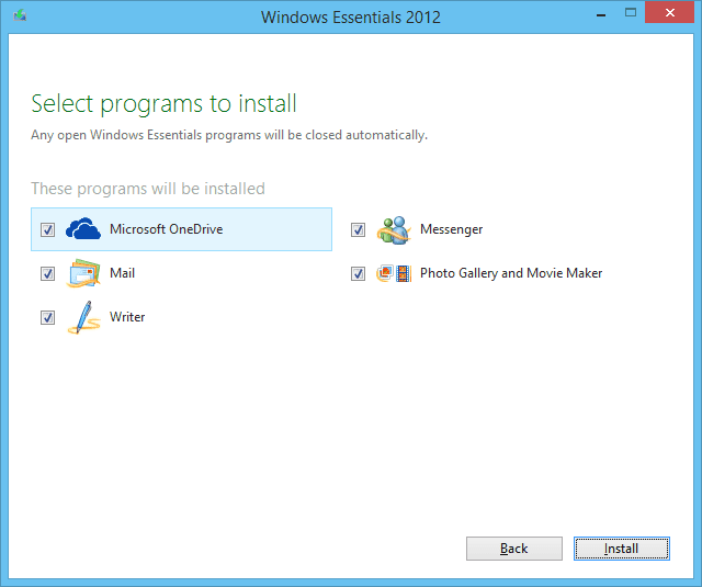 A screenshot of the Windows Essentials 2012 installer running on Windows 8.1