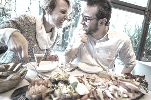 Couple having Christmas dinner in a restaurant