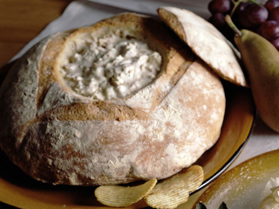 clam dip recipe, baked, bread bowl, appetizer, receipts
