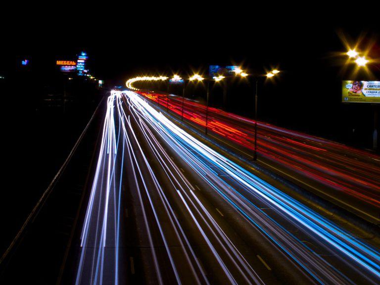 Moscow circle highway at night