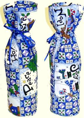 Front & Back of Fabric Gift Bottle Bag