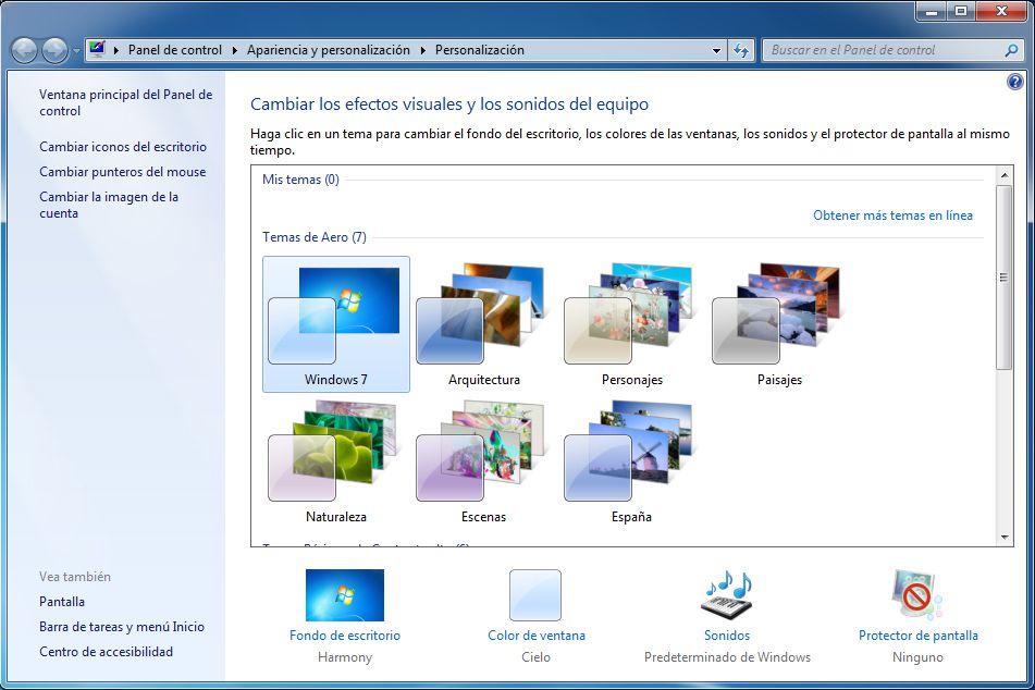 Cambiar o personalizar los temas de windows 7 - Como cambiar fondo de escritorio windows 7 starter ...
