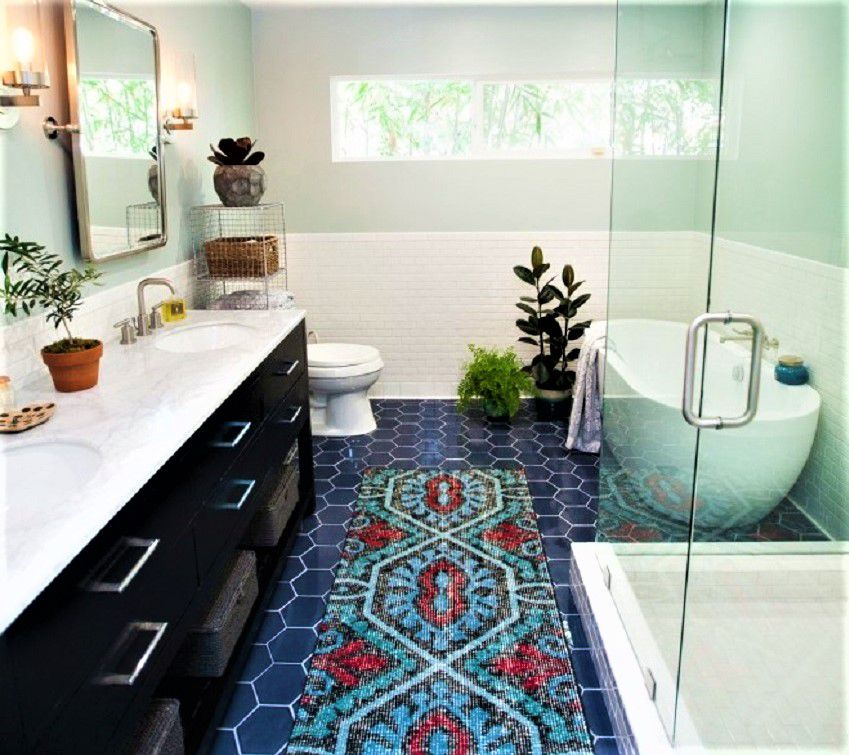 colorful bathroom remodel after - 1950s Bathroom Remodel Before And After