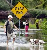A dog and his owner walk through flood waters after a hurricane.