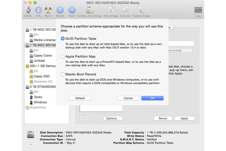 Disk Utility Partition Panel