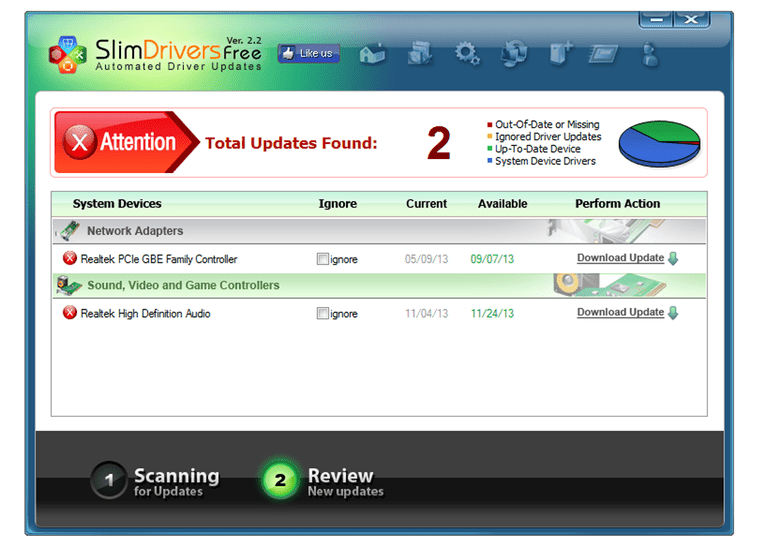 Screenshot of SlimDrivers v2.2 in Windows 8