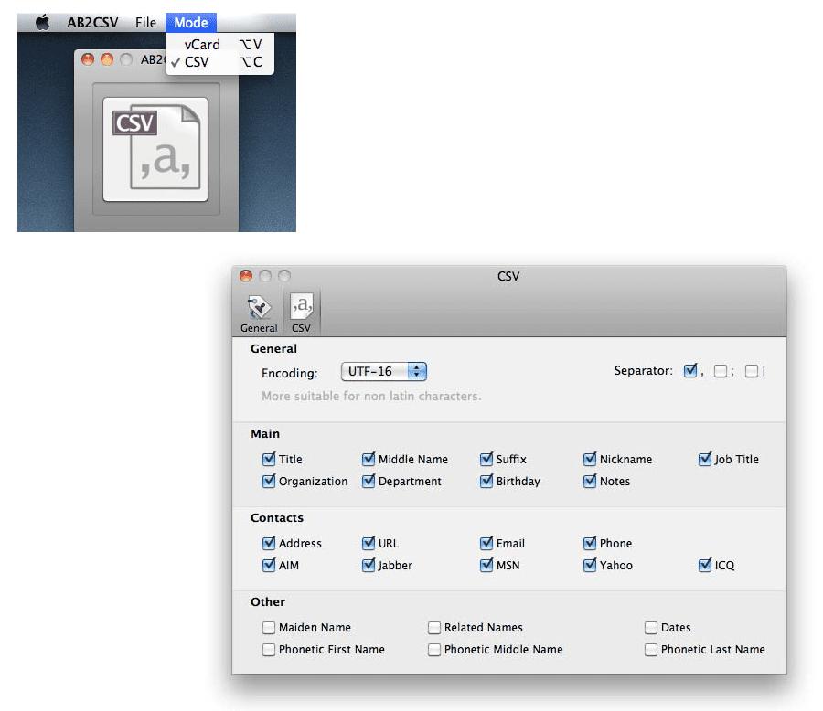 Screenshots of the AB2CSV program on a Mac