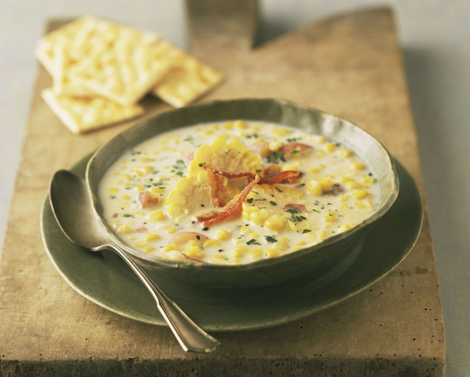 Corn chowder in bowl