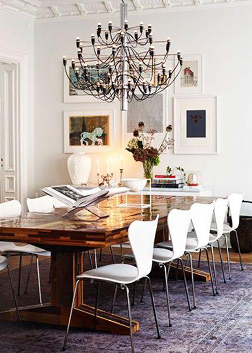 Modern dining room with designer chandelier