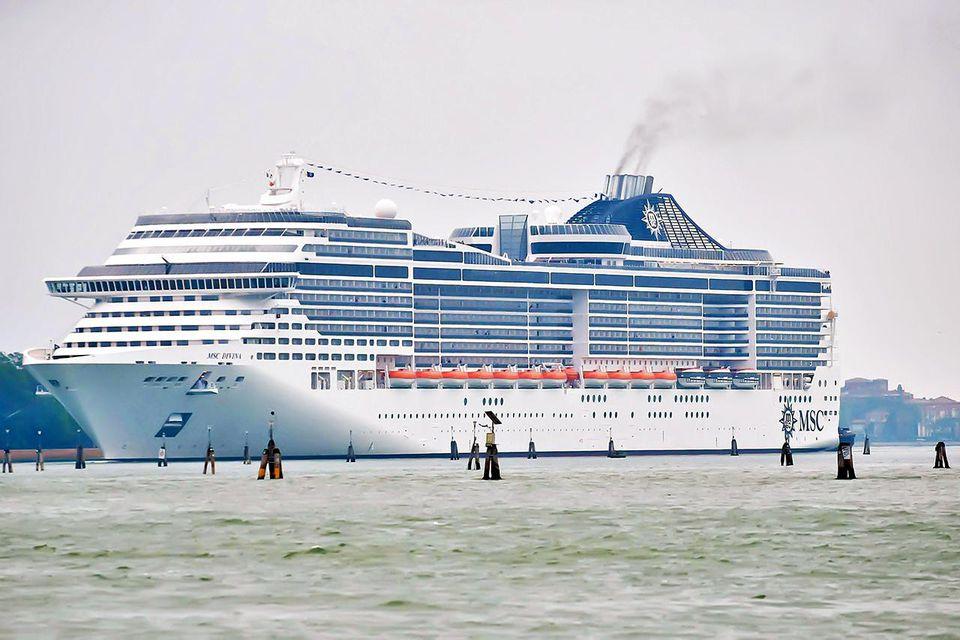 MSC Divina enters St Mark's basin on June 2, 2012 in Venice, Italy.