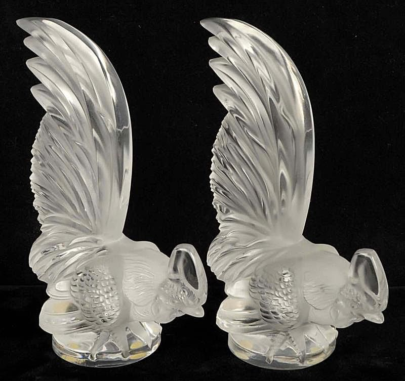 Pair of Lalique Roosters Paperweights