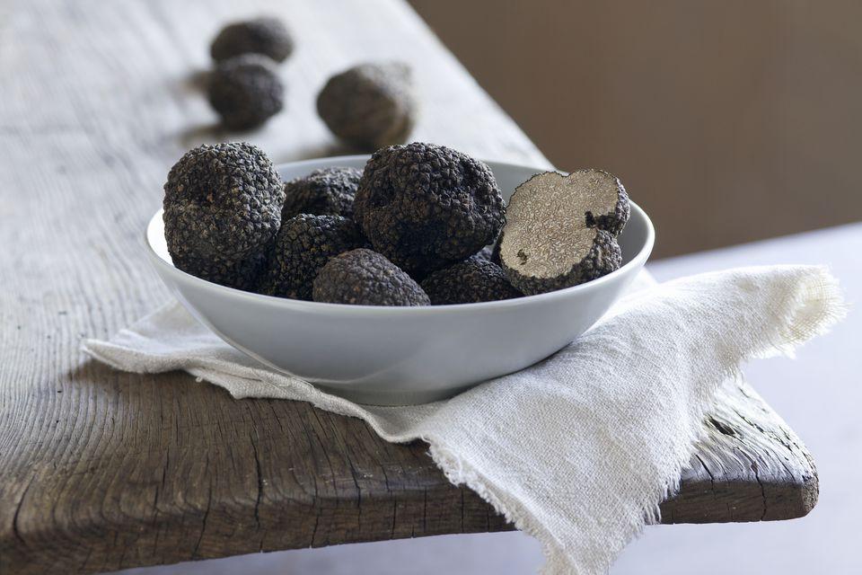Black summer truffles, close-up