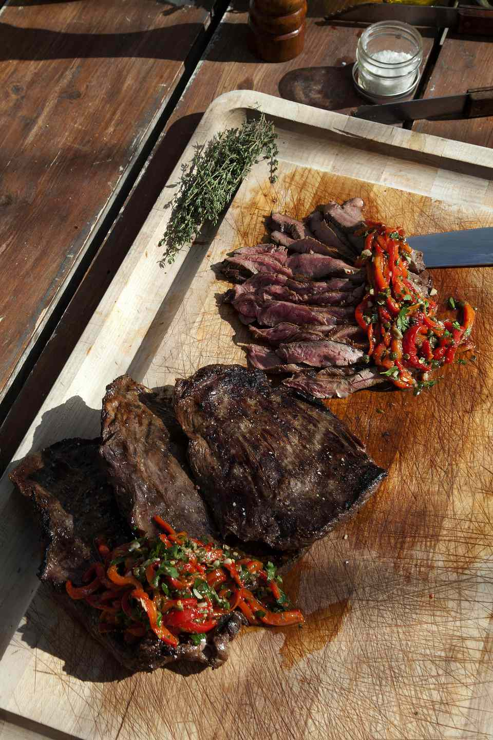 Grilled Flank Steak with Roasted Red Peppers