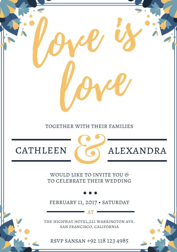 a free wedding invitation template that says love is - Free Templates For Wedding Invitations