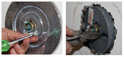 Remove shower trim plate