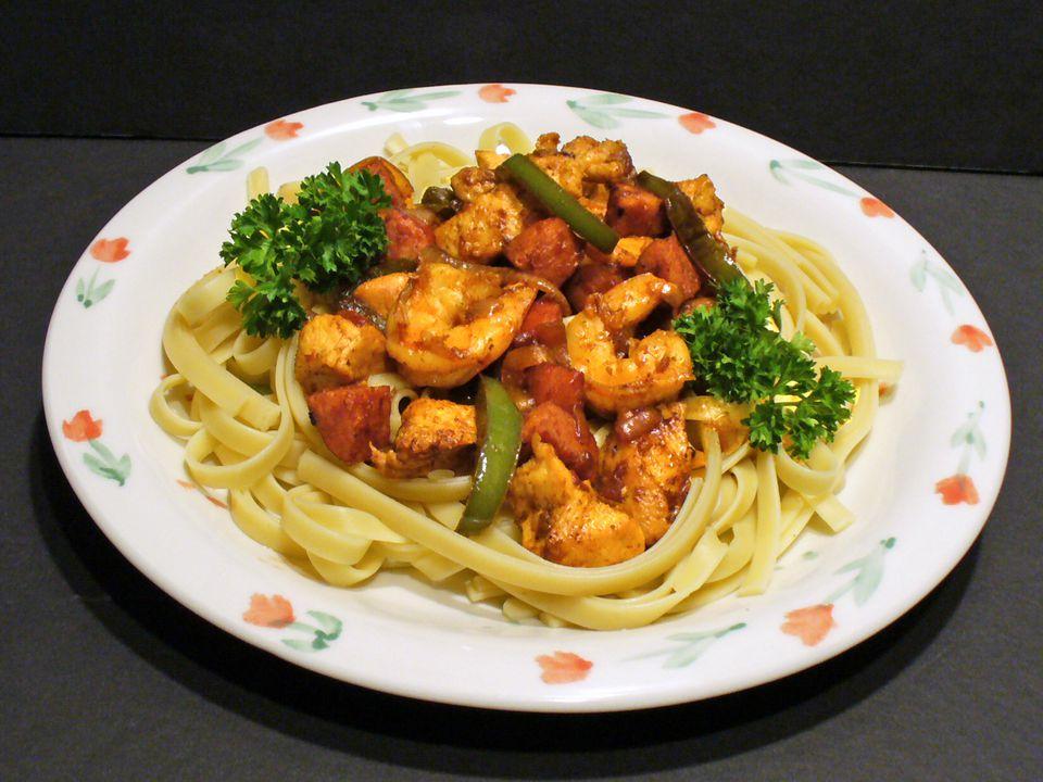 jambalaya fettuccine recipe cajun creole pasta shrimp sausage chicken receipt