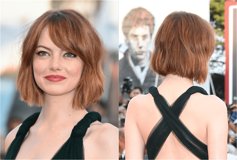 The hottest bob haircuts of the moment emma stones graduated bob with side swept bangs urmus Choice Image