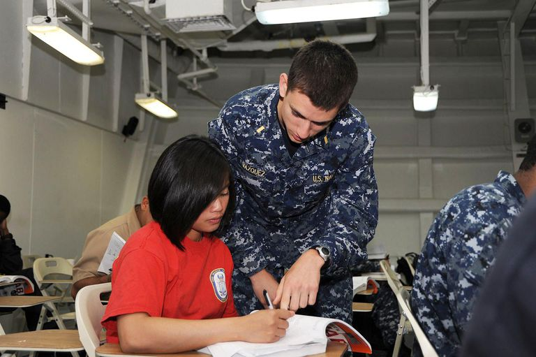 US Navy 110728-N-UE944-014 Ensign Ramon Vazquez assists Seaman Maan Palad during the ship's Armed Services Vocational Aptitude Battery (ASVAB)