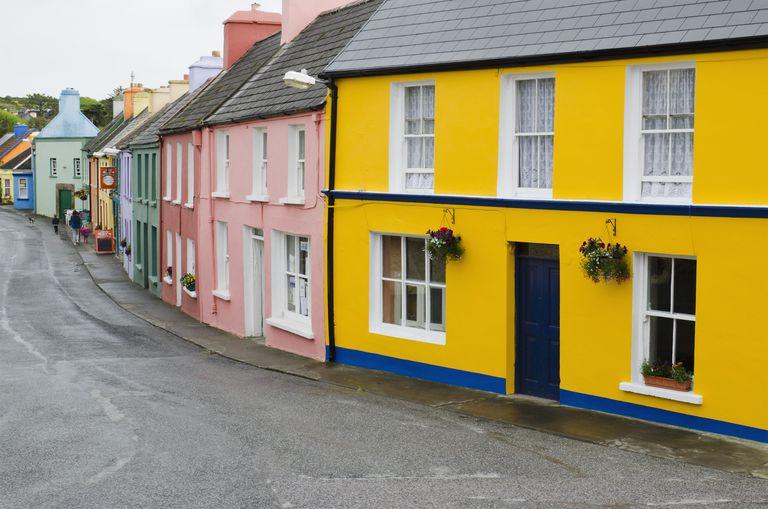 Colorful buildings on village street in Eyeries, Ireland