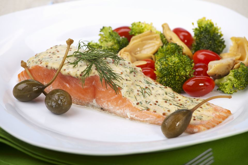 Salmon Fillet with Mustard and Dill Sauce