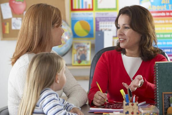 Mother and daughter (4-6) with mature female teacher in classroom.