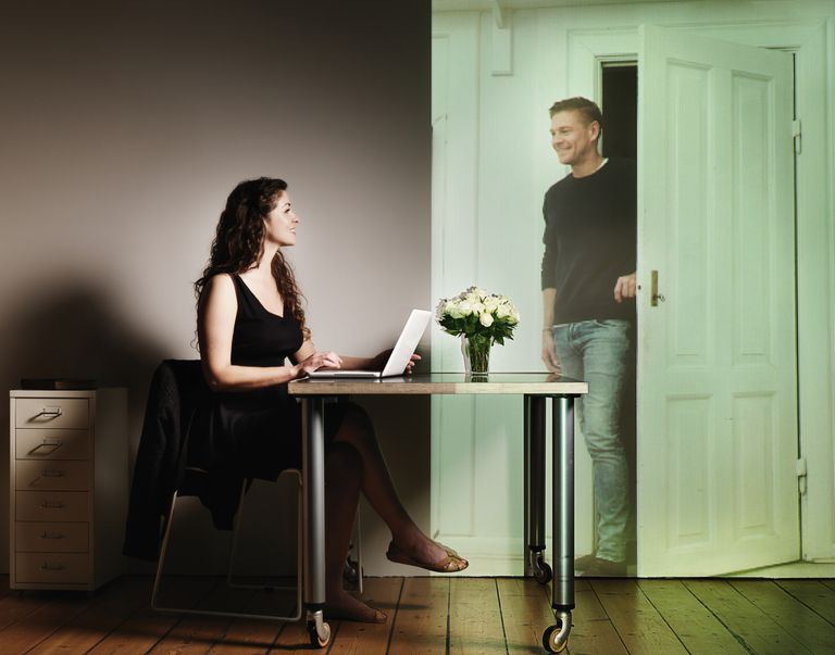 woman at computer with ghost - becoming a ghostwriter 101