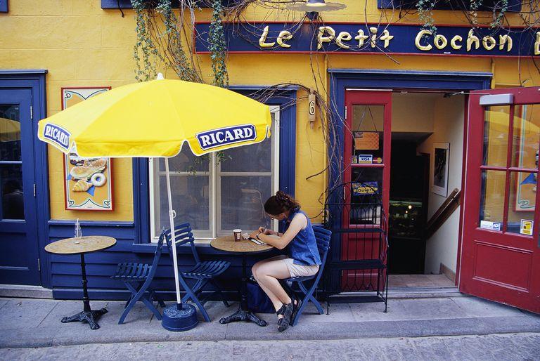 Woman Sitting Outside Coffee Shop