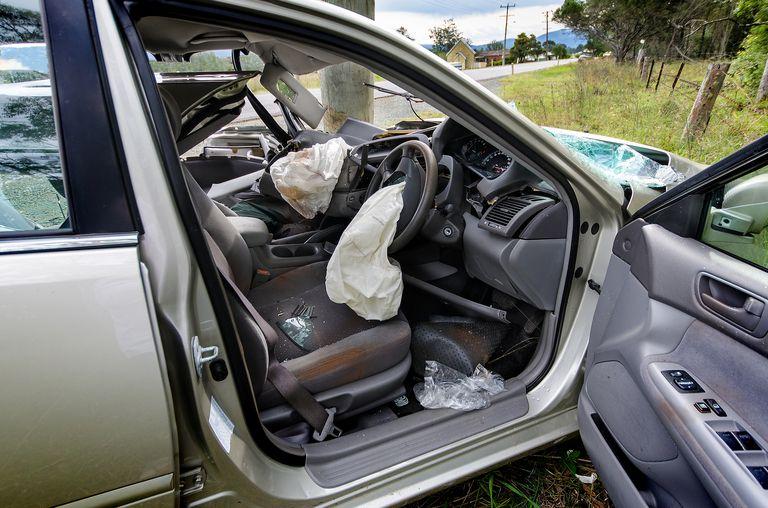 Totaled car crash aftermath