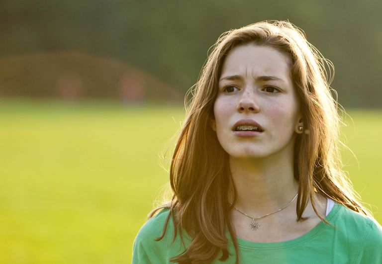 Worried girl with braces