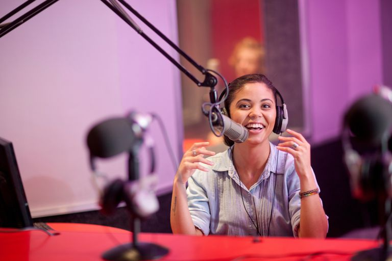 Person on radio at station