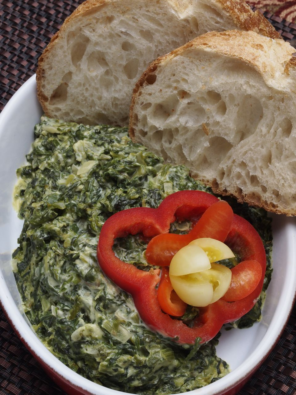Creamed Spinach with hearth Bread