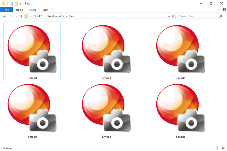 Screenshot of several MODD files in Windows 10 that open with the PlayMemories program