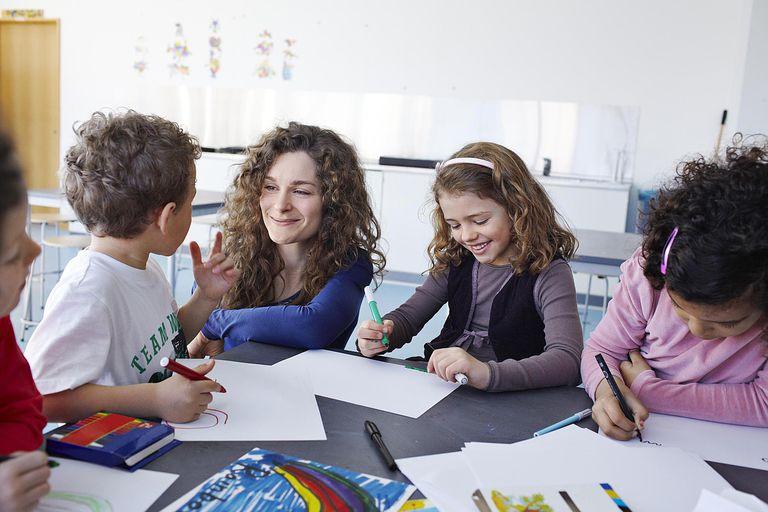 Teacher looking at kids drawing in schoolclass