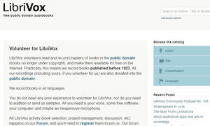 Screenshot of the LibriVox website